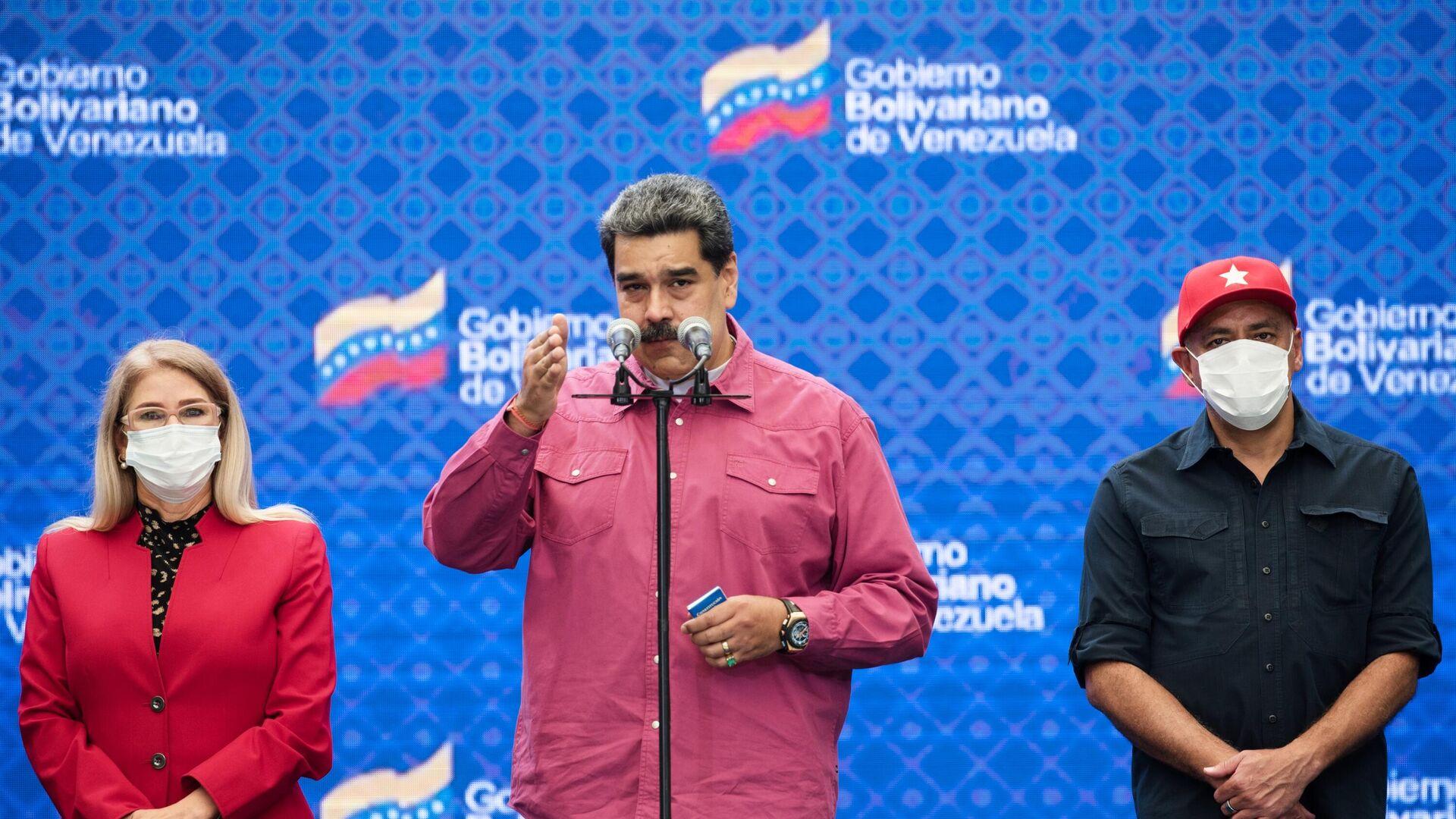 Der venezolanische Präsident Nicolas Maduro bei einem Birefing nach der Abstimmung bei der Parlamentswahl - SNA, 1920, 08.12.2020