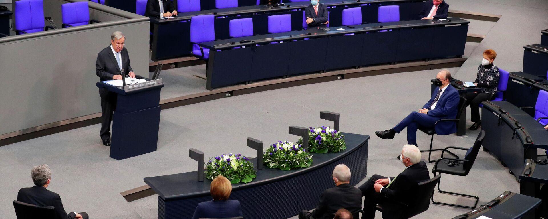 UN-Generalsekretär Antonio Guterres spricht im Bundestag am 18. Dezember 2020 - SNA, 1920, 18.12.2020