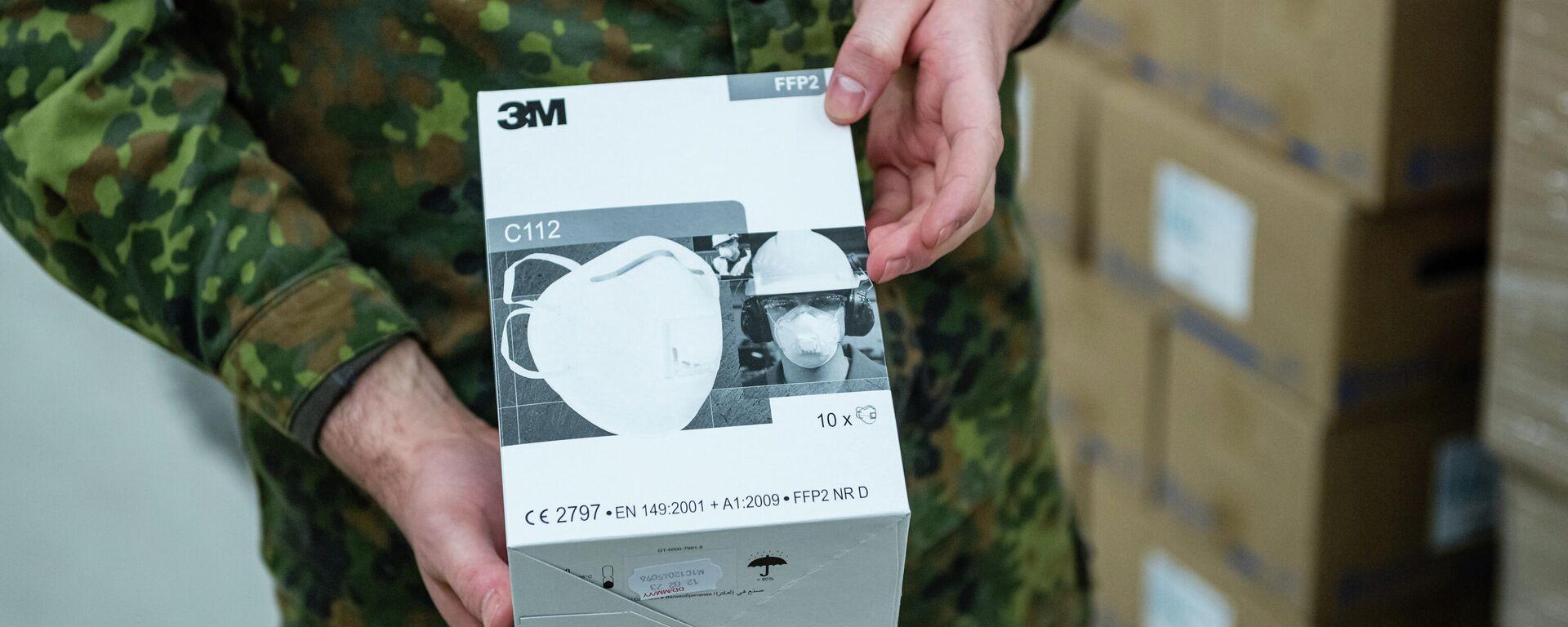 Bundeswehr-Angehöriger zeigt ein FFP2-Maske-Kit - SNA, 1920, 18.12.2020