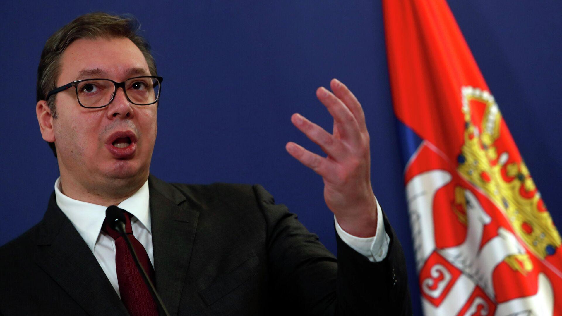 Serbiens Präsident Aleksandar Vučić - SNA, 1920, 09.04.2021