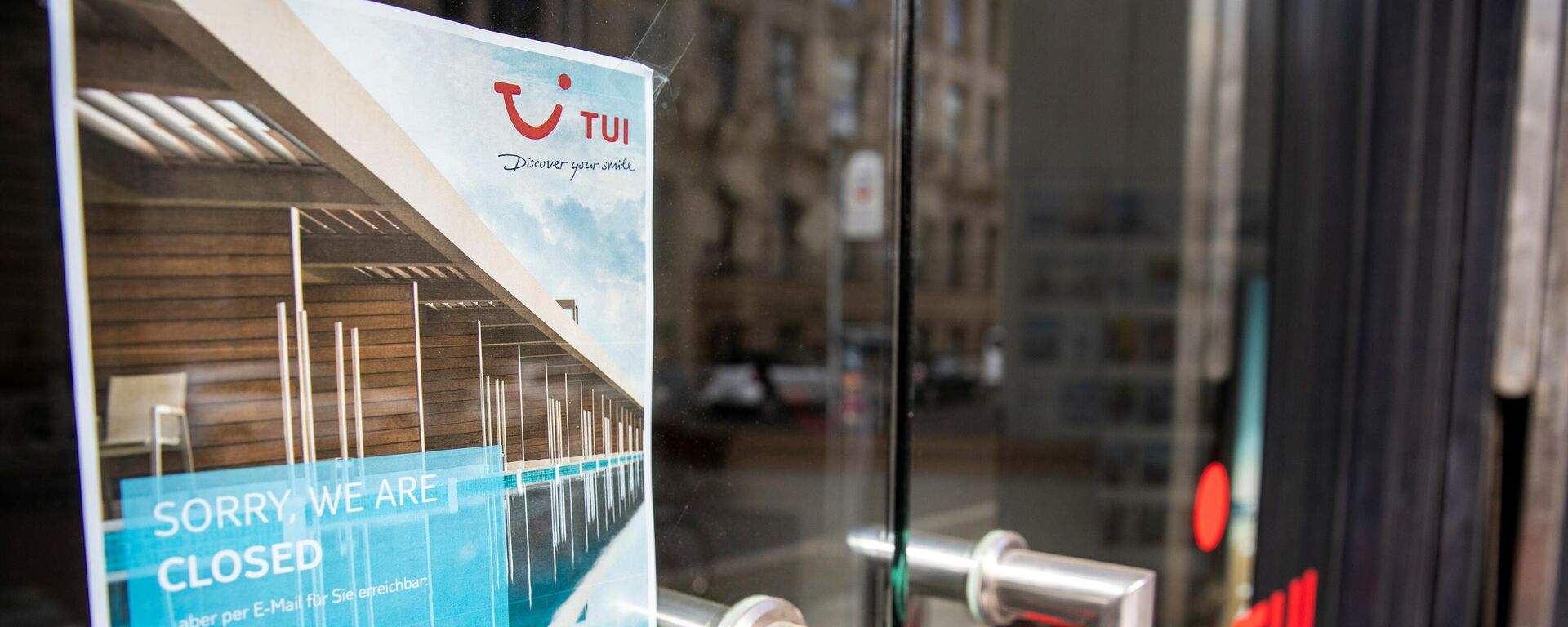 Ein Tui-Reisebüro, das coronabedingt geschlossen bleiben muss.  - SNA, 1920, 04.01.2021