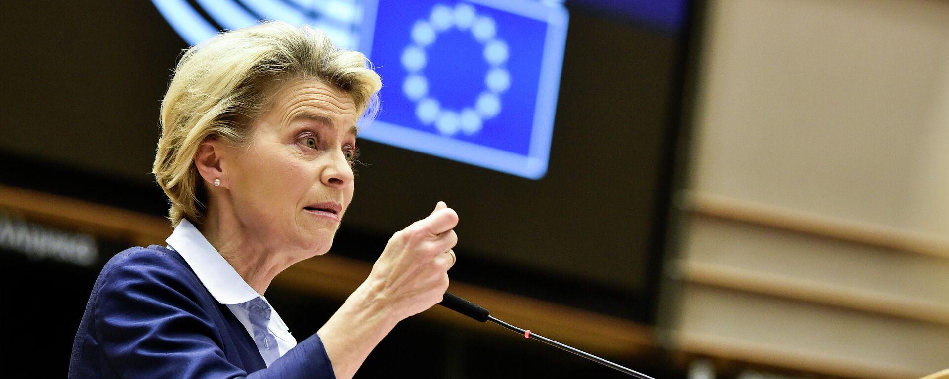 Kommissionspräsidentin Ursula von der Leyen hält am 16. Dezember 2020 im Europäischen Parlament in Brüssel eine Rede - Symbolfoto - SNA, 1920, 07.01.2021