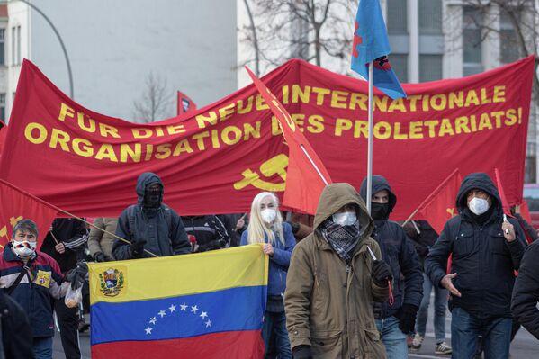 Unterstützer sozialistischer Staaten wie Venezuela waren ebenso auf der Demonstration zu sehen. - SNA