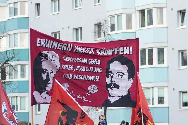 Die 1919 ermordeten Revolutionsführer Rosa Luxemburg und Karl Liebknecht sind Mitbegründer der ersten deutschen Kommunistischen Partei, KPD, Anfang 1919. - SNA
