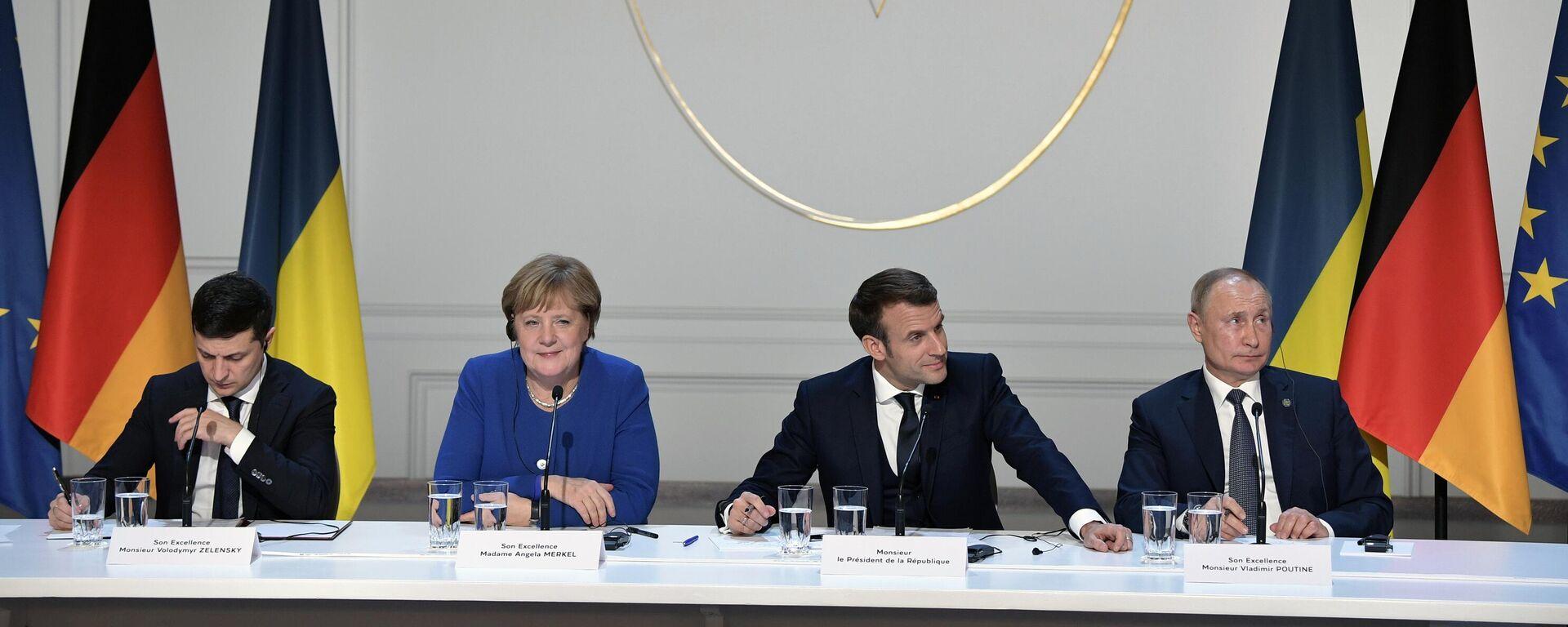 In Paris trifft Kanzlerin Merkel die Präsidenten Frankreichs, Russlands und der Ukraine zum Gespräch im Normandie-Format (Archivbild) - SNA, 1920, 12.01.2021