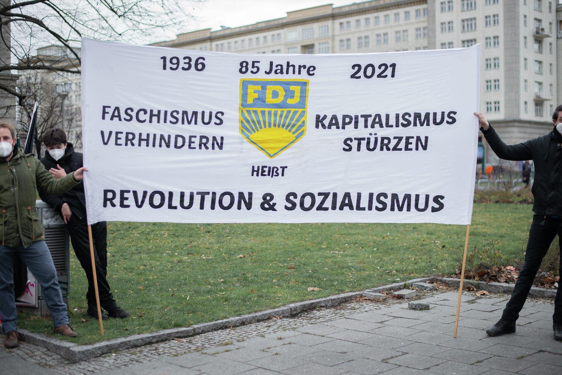 Linke Kundgebung nach Polizeieinsatz gegen FDJ in Berlin - SNA, 1920, 23.01.2021