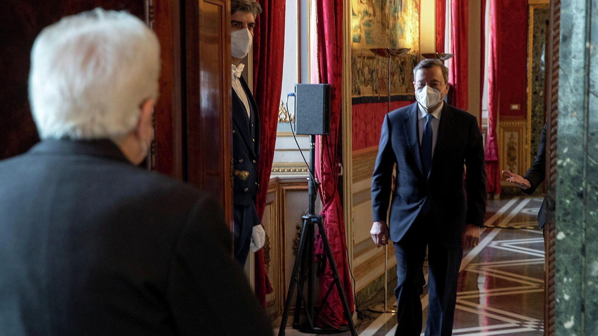 Italiens Staatspräsident Sergio Mattarella empfängt Mario Draghi - SNA, 1920, 03.02.2021
