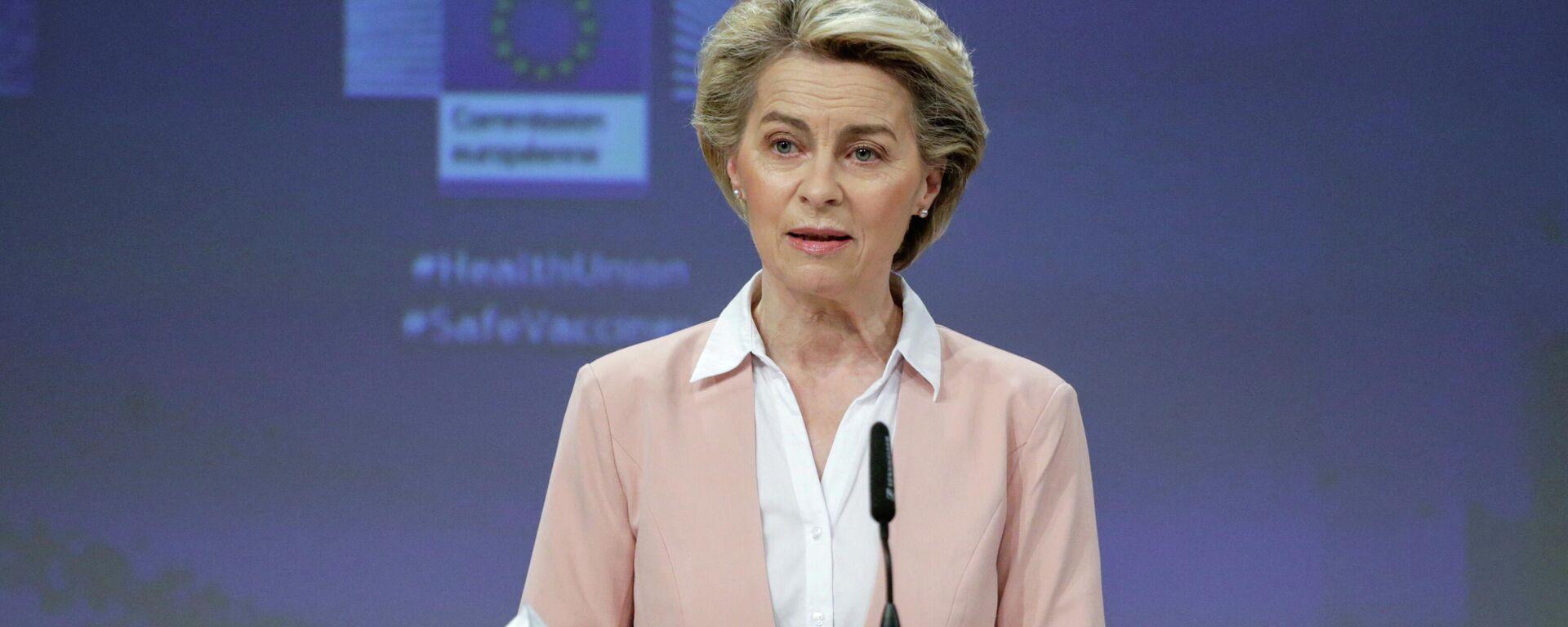 EU-Kommissionschefin Ursula von der Leyen auf einer Pressekonferenz zu Problemen der Bekämpfung der Corona-Pandemie. Brüssel, 17. Februar 2021 - SNA, 1920, 15.06.2021