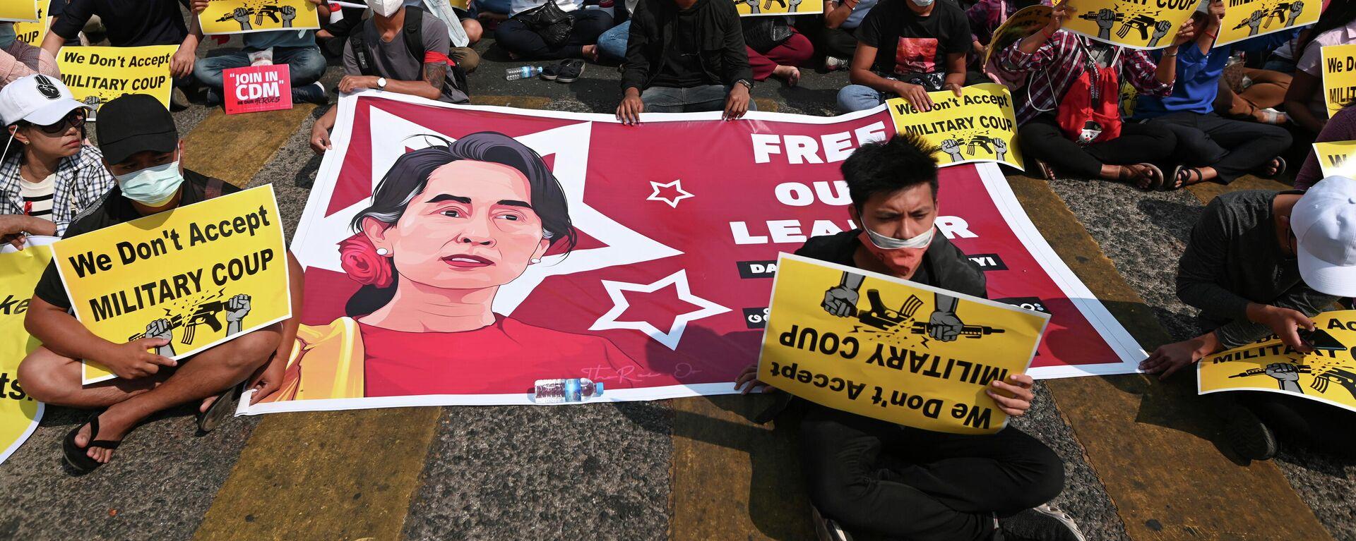Proteste gegen Militärputsch in Yangon (19.02.2021) - SNA, 1920, 25.02.2021