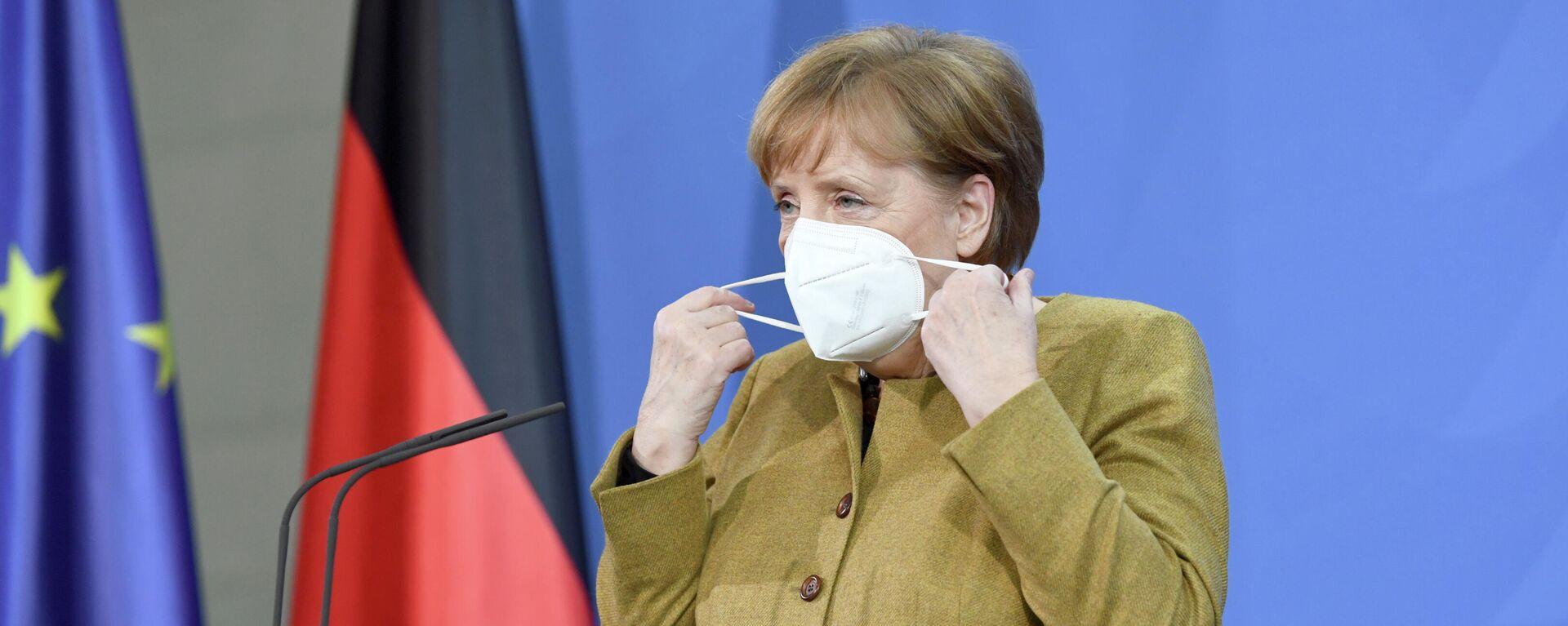 Bundeskanzlerin Angela Merkel gibt eine Pressekonferenz nach dem G7-Gipfel, 19. Februar 2021 - SNA, 1920, 20.02.2021