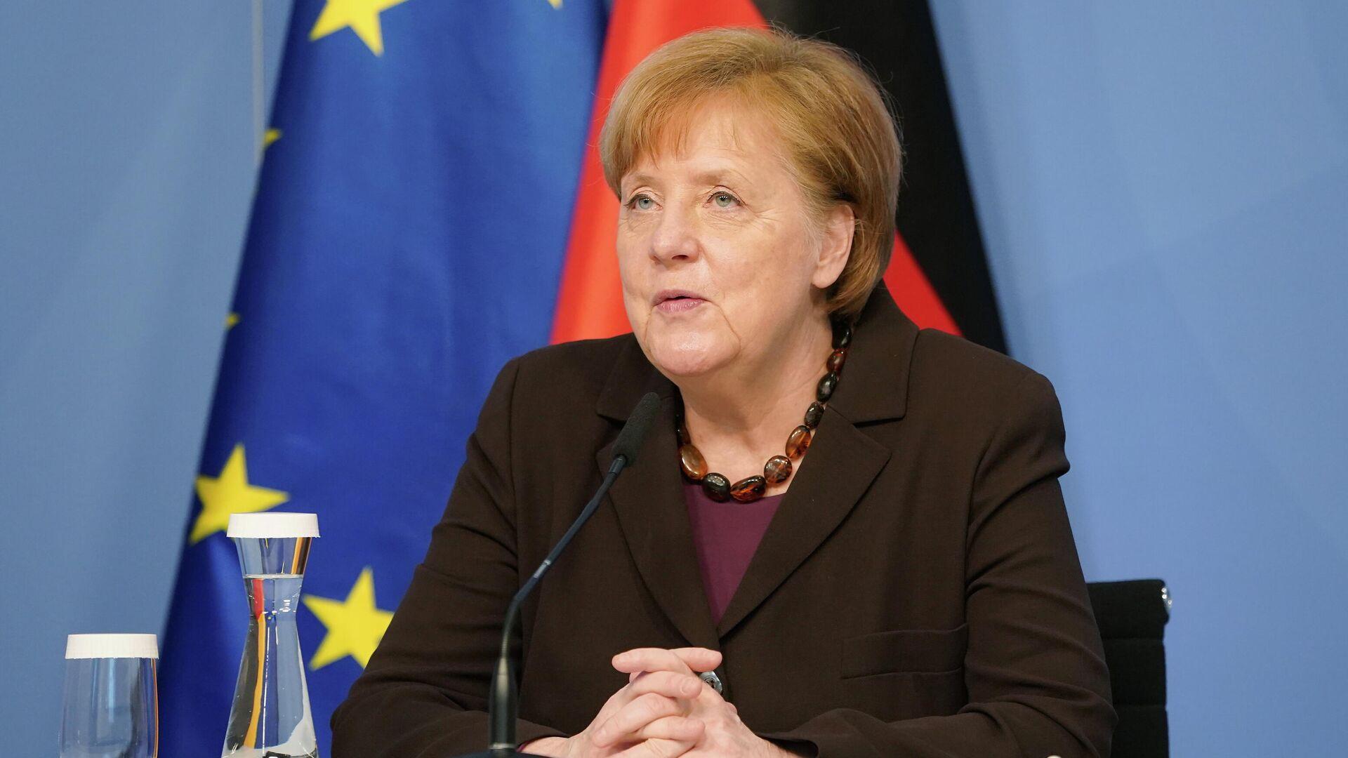 Bundeskanzlerin Angela Merkel referiert in einer Sitzung des Expertenrates für Forschung und Innovation (EFI). Berlin, 24. Februar 2021 - SNA, 1920, 24.02.2021
