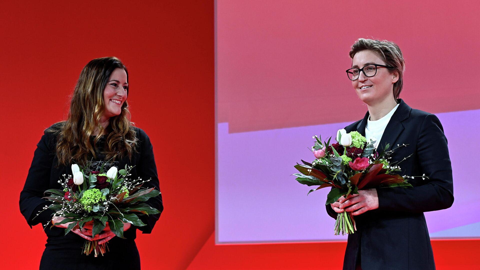 Die Linke wählt ihre neuen Parteivorsitzenden, die hessische Landtagsfraktionschefin Janine Wissler (links) und die thüringische Landeschefin Susanne Hennig-Wellsow. - SNA, 1920, 27.02.2021