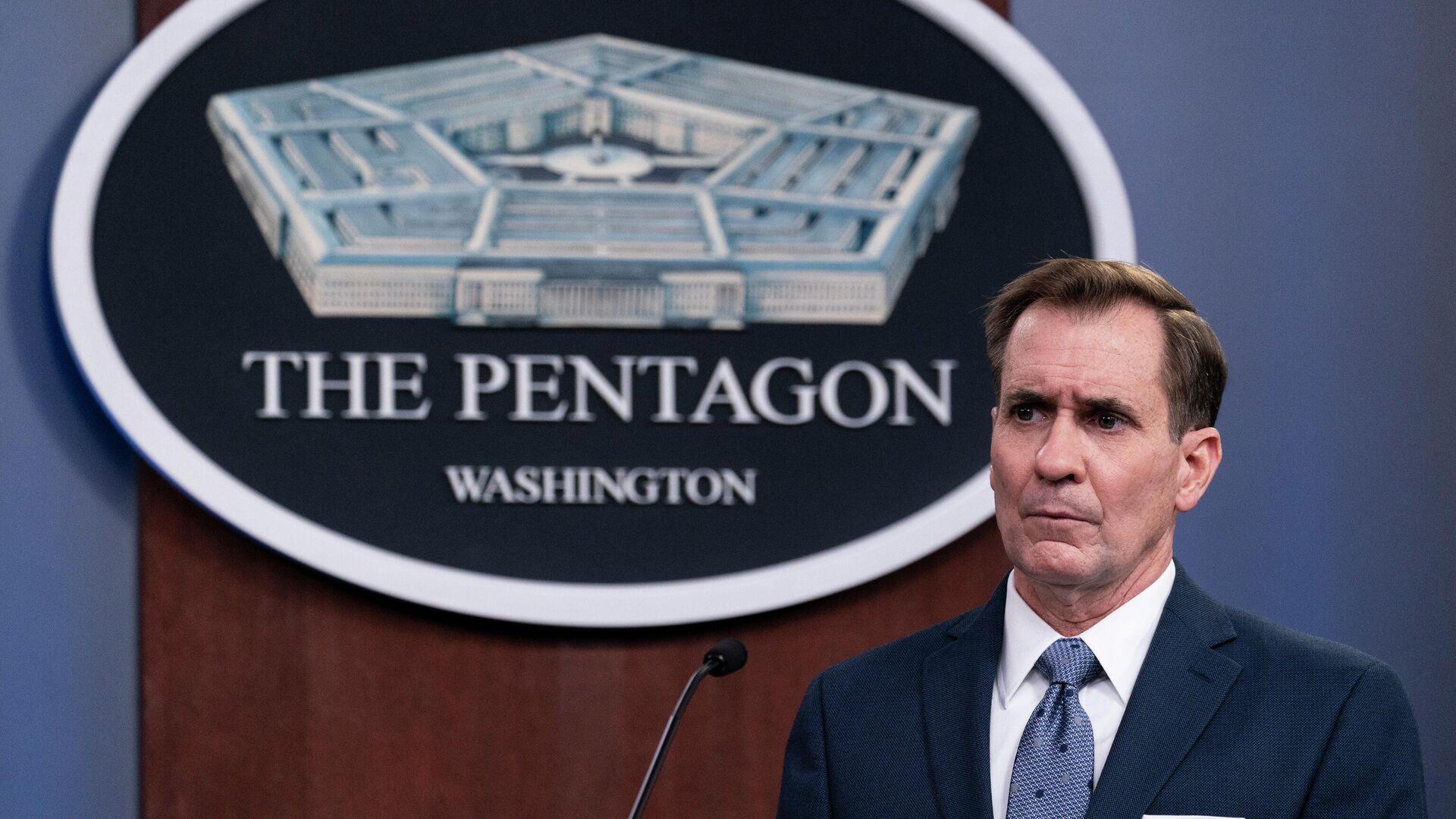 Pentagon-Sprecher John Kirby informiert bei einem Briefing über US-Schläge gegen Ziele in Syrien. Washington, 25. Februar 2021 - SNA, 1920, 02.07.2021