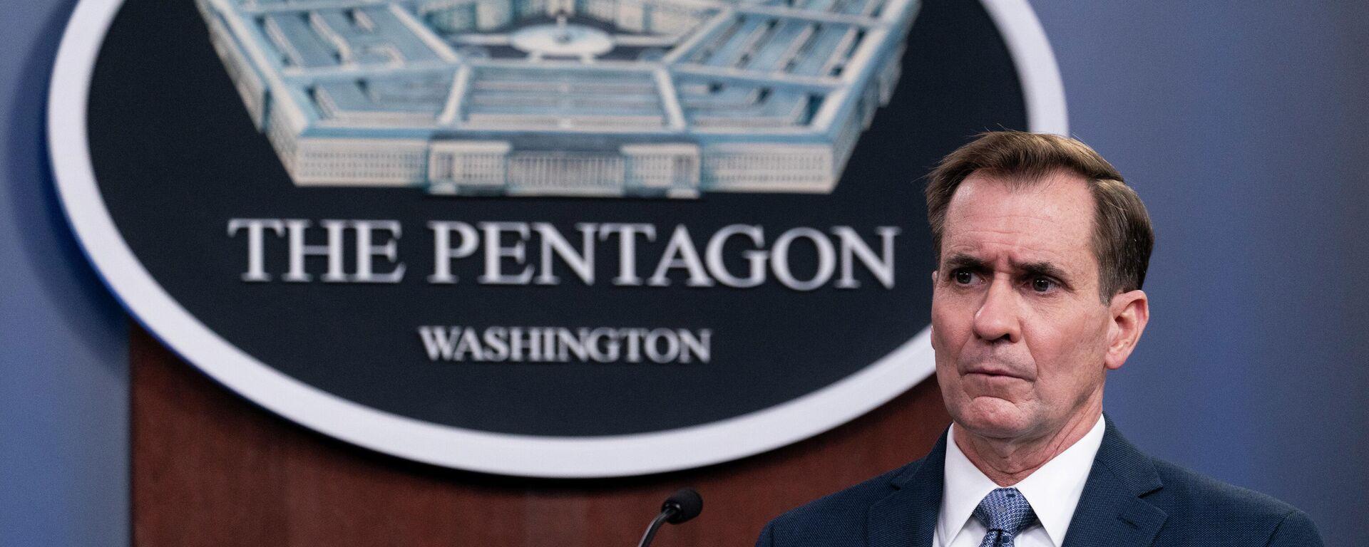 Pentagon-Sprecher John Kirby informiert bei einem Briefing über US-Schläge gegen Ziele in Syrien. Washington, 25. Februar 2021 - SNA, 1920, 20.09.2021