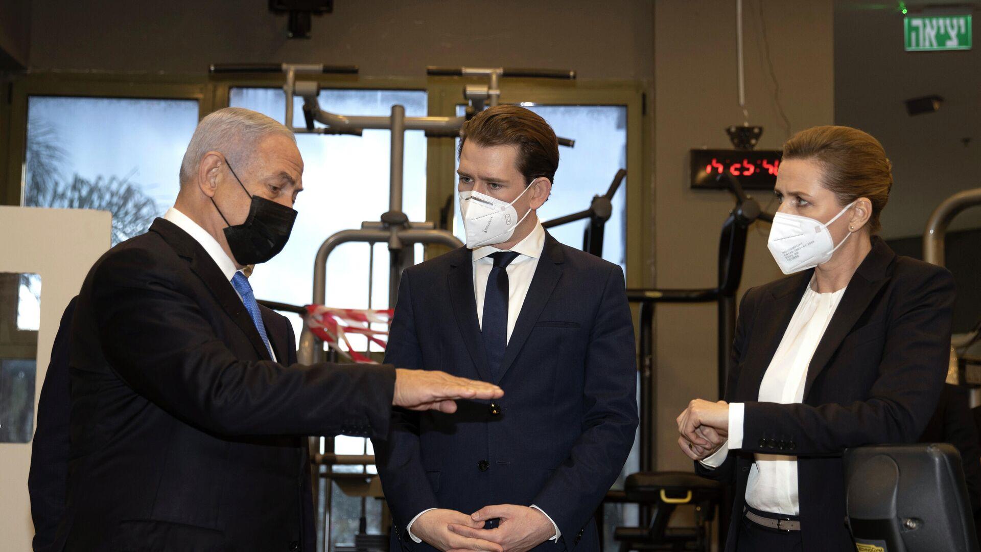 Die Regierungschefs der drei Staaten, Benjamin Netanjahu, Sebastian Kurz und Mette Frederiksen  - SNA, 1920, 05.03.2021