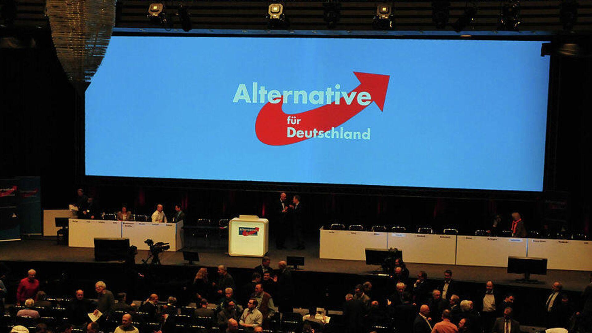 AfD-Logo ist auf einem Bildschirm während des Bundesparteitags in Bremen zu sehen (Archivbild) - SNA, 1920, 16.09.2021