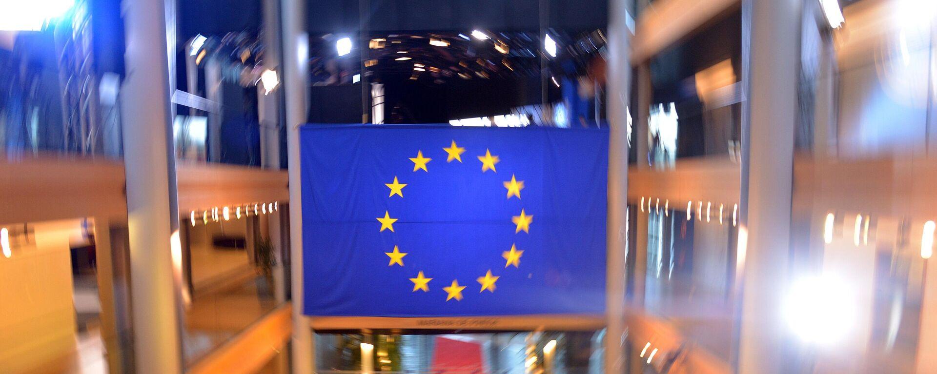 EU-Flagge im Europaparlament in Straßburg - SNA, 1920, 10.08.2021