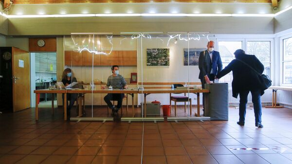 Wahllokal in Trier, 14. März 2021 - SNA