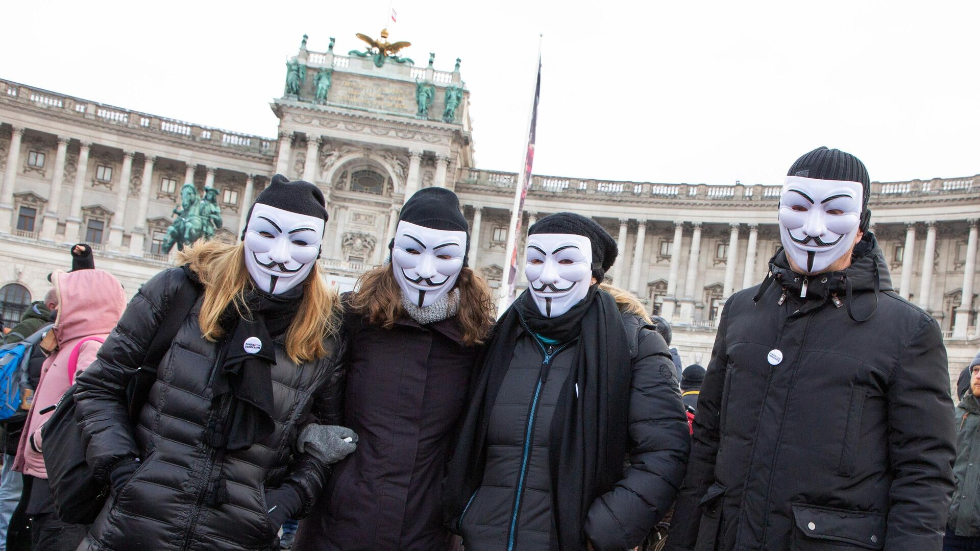 Teilnehmer der Proteste gegen Corona-Einschränkungen in Wien, 16. Januar 2021 - SNA, 1920, 20.03.2021