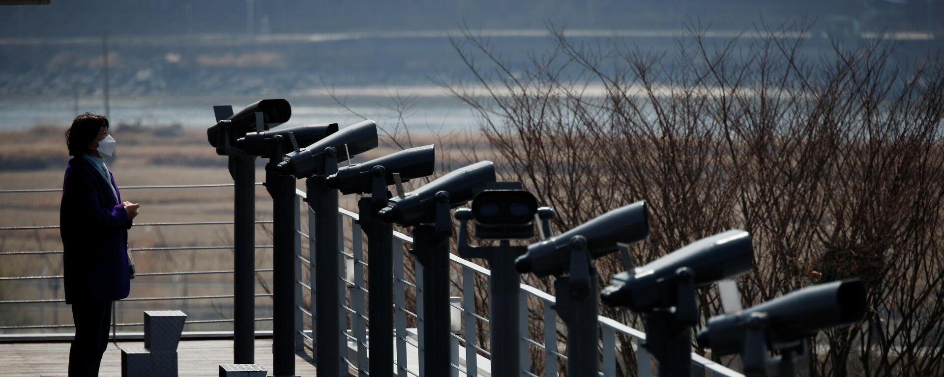 Eine Beobachtungsplattform in der Nähe der entmilitarisierten Zone, die die beiden Koreas trennt, in Paju, Südkorea - SNA, 1920, 17.04.2021