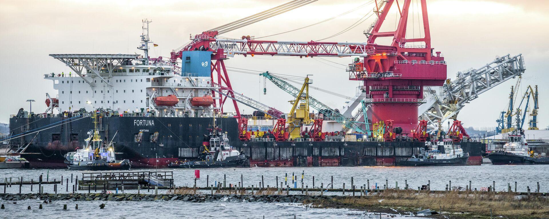 Rohrlegeschiff Fortuna, das an den Bauarbeiten im Rahmen des Projekts Nord Stream 2 teilnimmt, in Wismar (Archivbild) - SNA, 1920, 24.06.2021