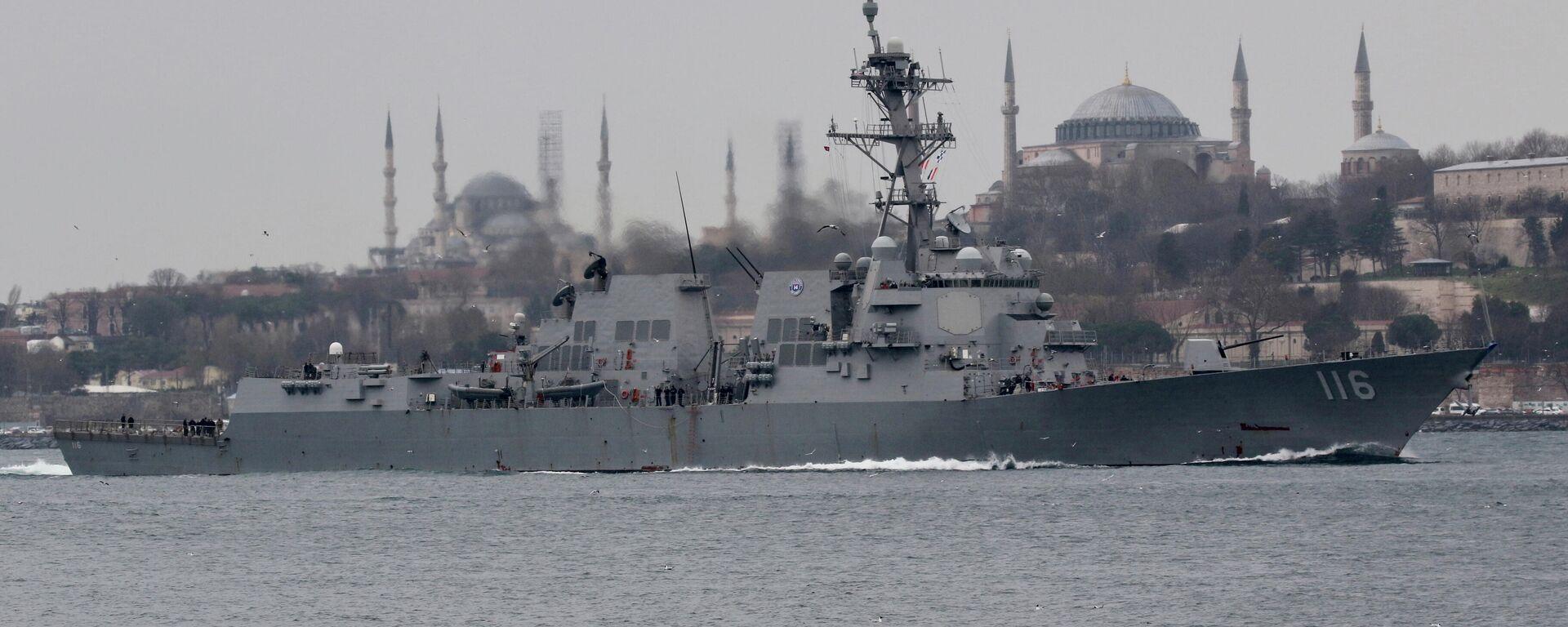 Der Lenkwaffen-Zerstörer der US-Marine, die USS Thomas Hudner (DDG-116), im Bosporus auf dem Weg zum Schwarzen Meer. - SNA, 1920, 09.04.2021