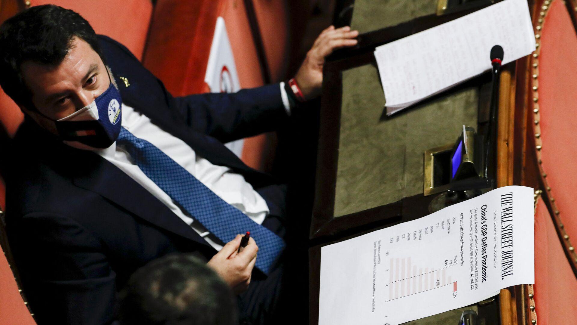 Matteo Salvini in einer Parlamentssitzung - SNA, 1920, 10.04.2021