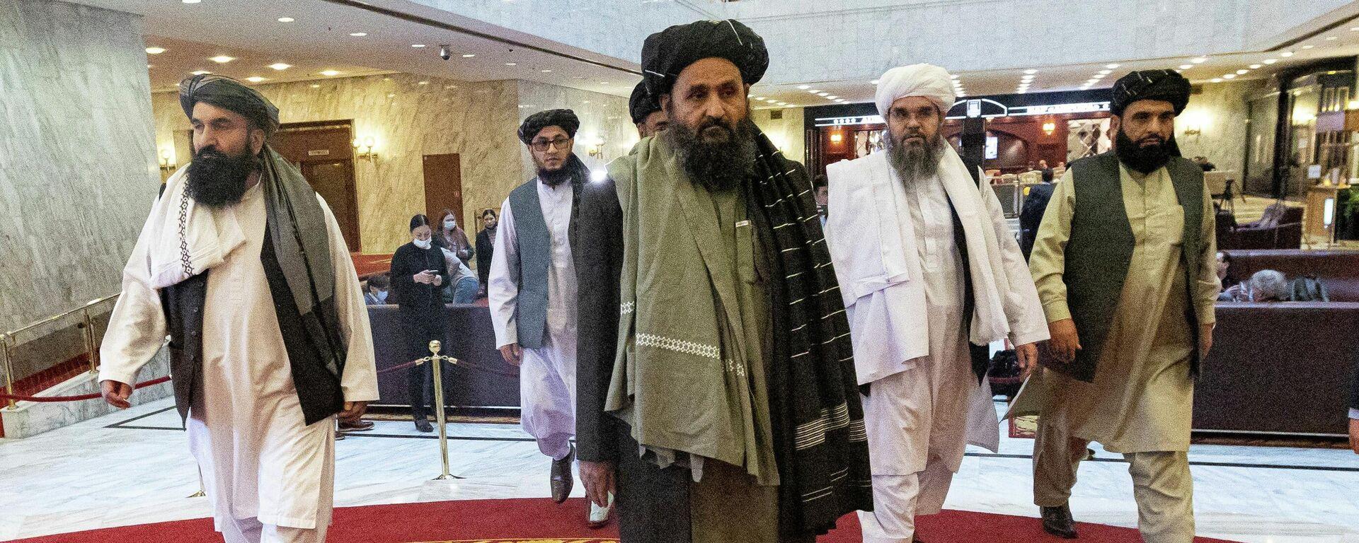 Taliban-Chef Mullah Abdul Ghani Baradar bei den Verhandlungen mit der afghanischen Regierung in Moskau (Archivbild) - SNA, 1920, 14.04.2021