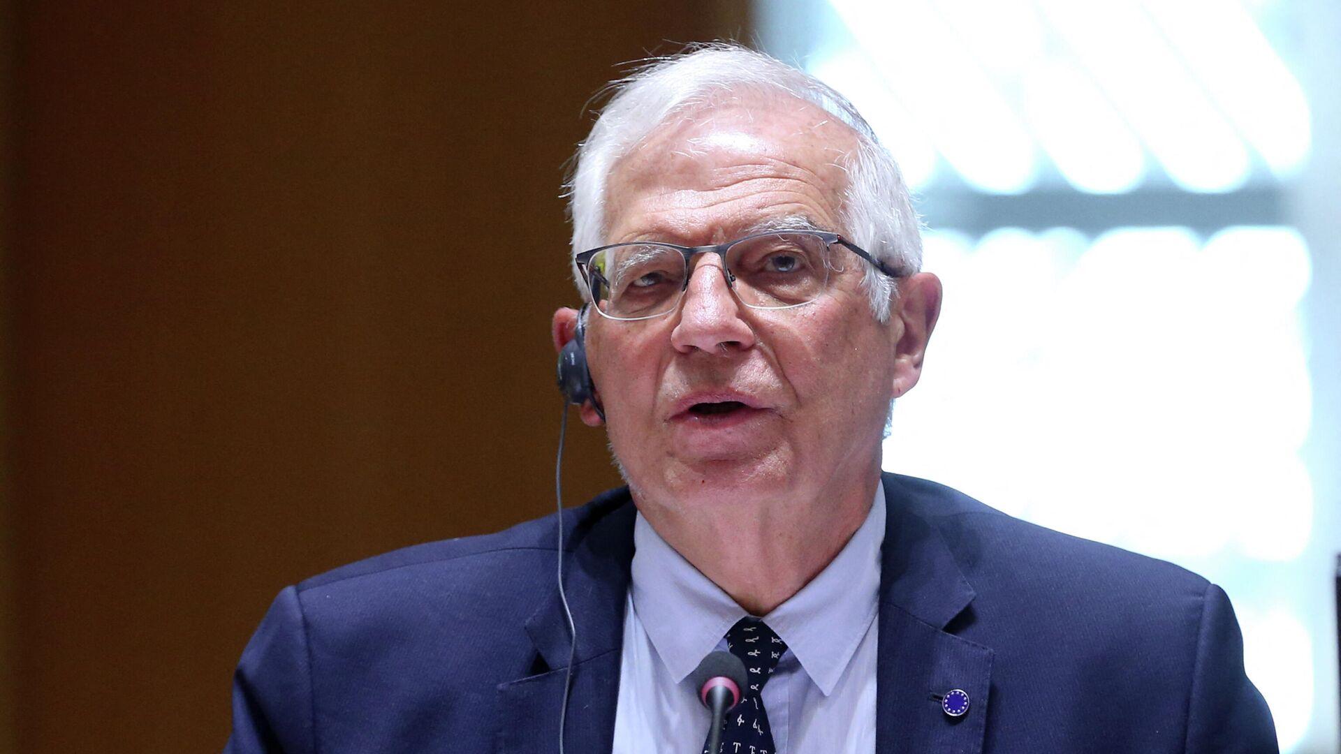 Der Hohe Vertreter der EU für auswärtige Angelegenheiten, Josep Borrell, spricht während eines Video-Treffens mit den europäischen Außenministern am 19. April 2021 auf der Tagung des Europäischen Rates in Brüssel über die Lage in der Ukraine.  - SNA, 1920, 19.04.2021