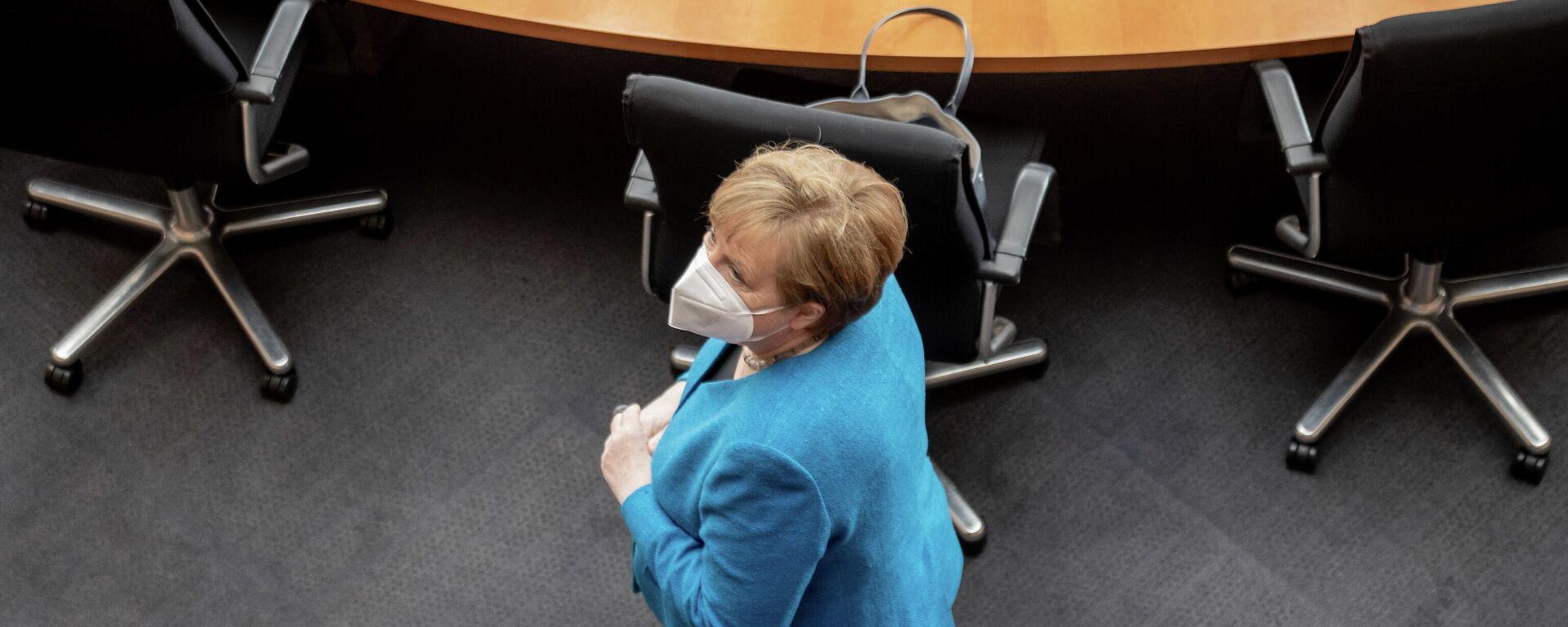 Angela Merkel bei der Zeugenvernehmung des Wirecard-Untersuchungsausschusses des Bundestages, 23. April 2021 - SNA, 1920, 23.04.2021
