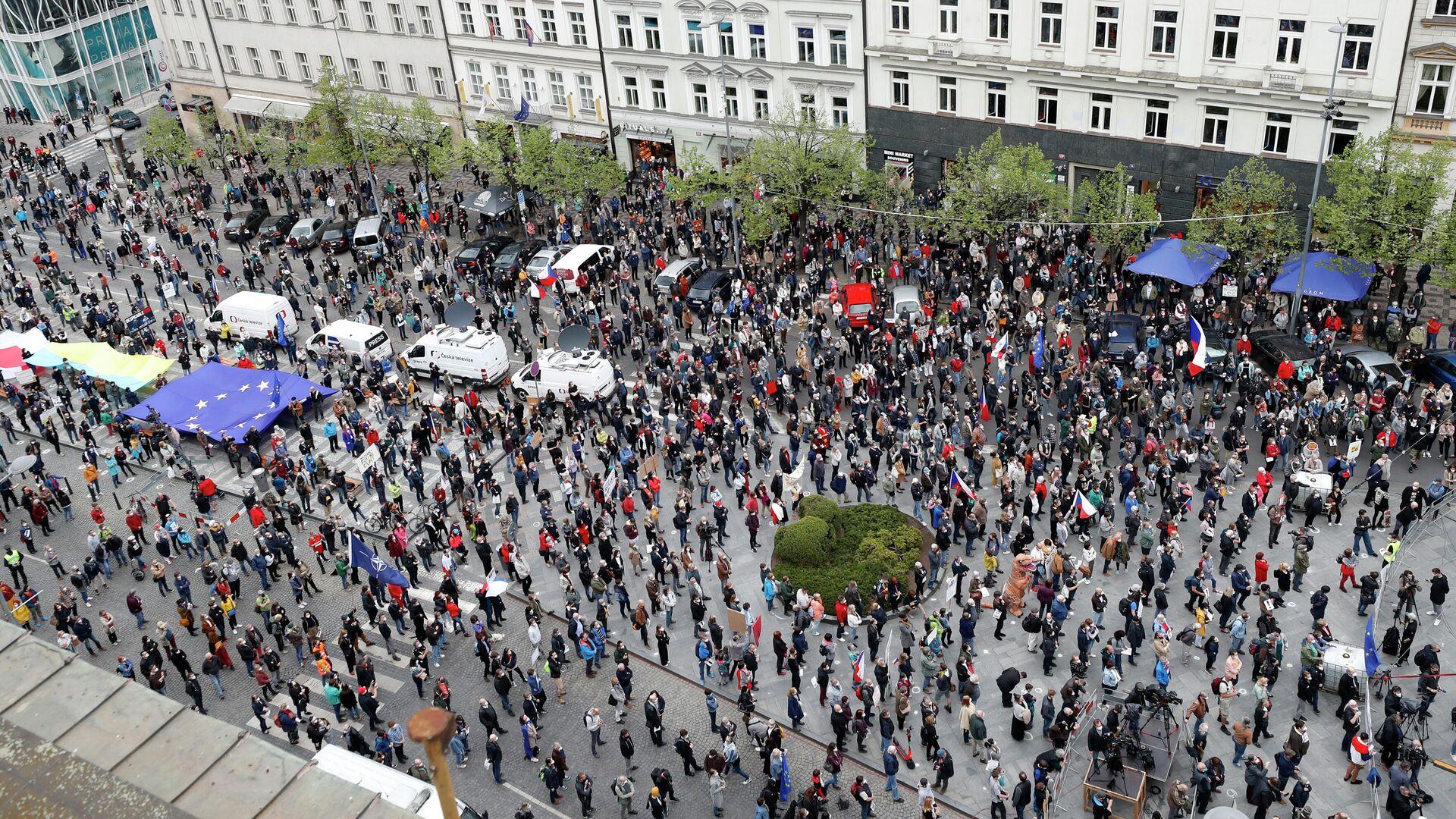 Demo gegen Zeman in Prag, 29. April  - SNA, 1920, 30.04.2021