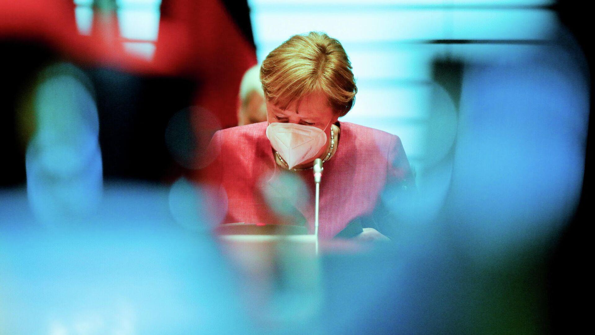 Bundeskanzlerin Angela Merkel bei der Kabinettsitzung am 27. April 2021 - SNA, 1920, 24.05.2021