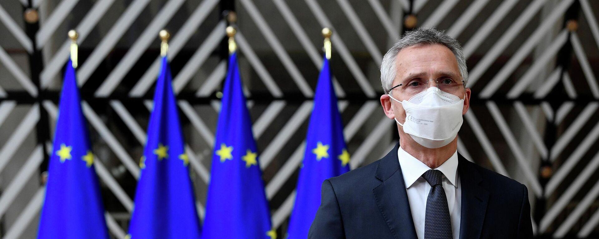 Nato-Generalsekretär Jens Stoltenberg bei der Pressekonferenz nach dem Treffen mit den EU-Verteidigungsminister in Brüssel, 6. Mai 2021 - SNA, 1920, 31.05.2021