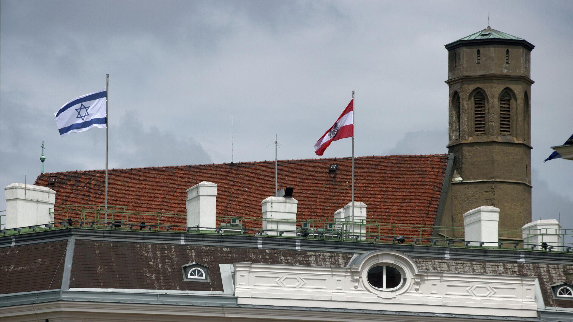 Israelische Flagge auf dem Gebäude des Kanzleramts in Wien, 15. Mai 2021 - SNA, 1920, 18.05.2021