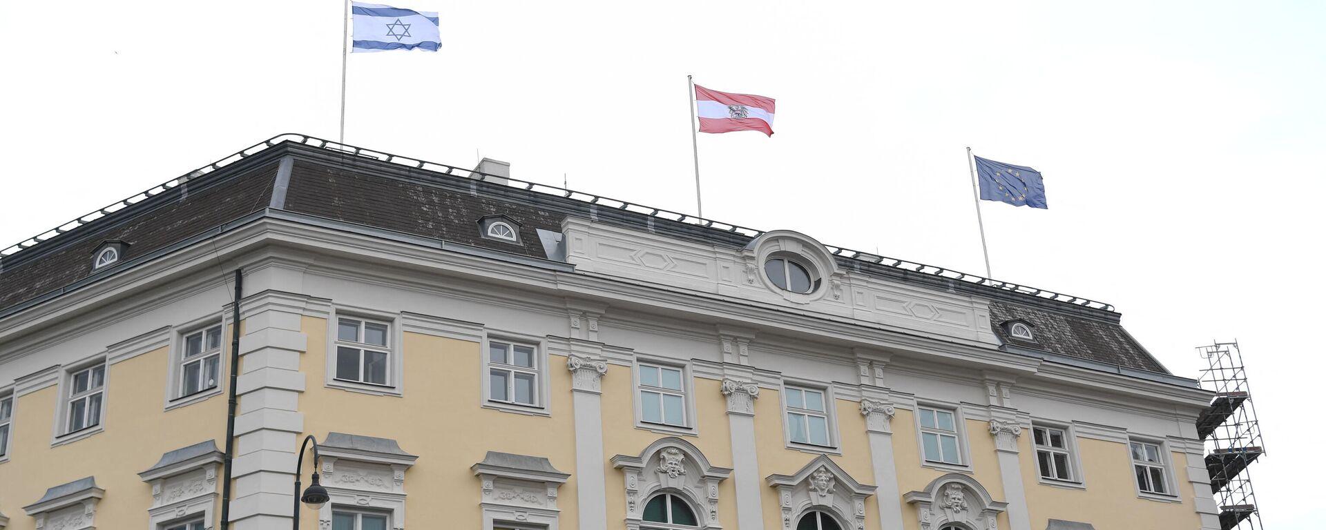 Israelische Flagge über dem Bundeskanzleramt gehisst. Wien, 14. Mai 2021 - SNA, 1920, 17.05.2021