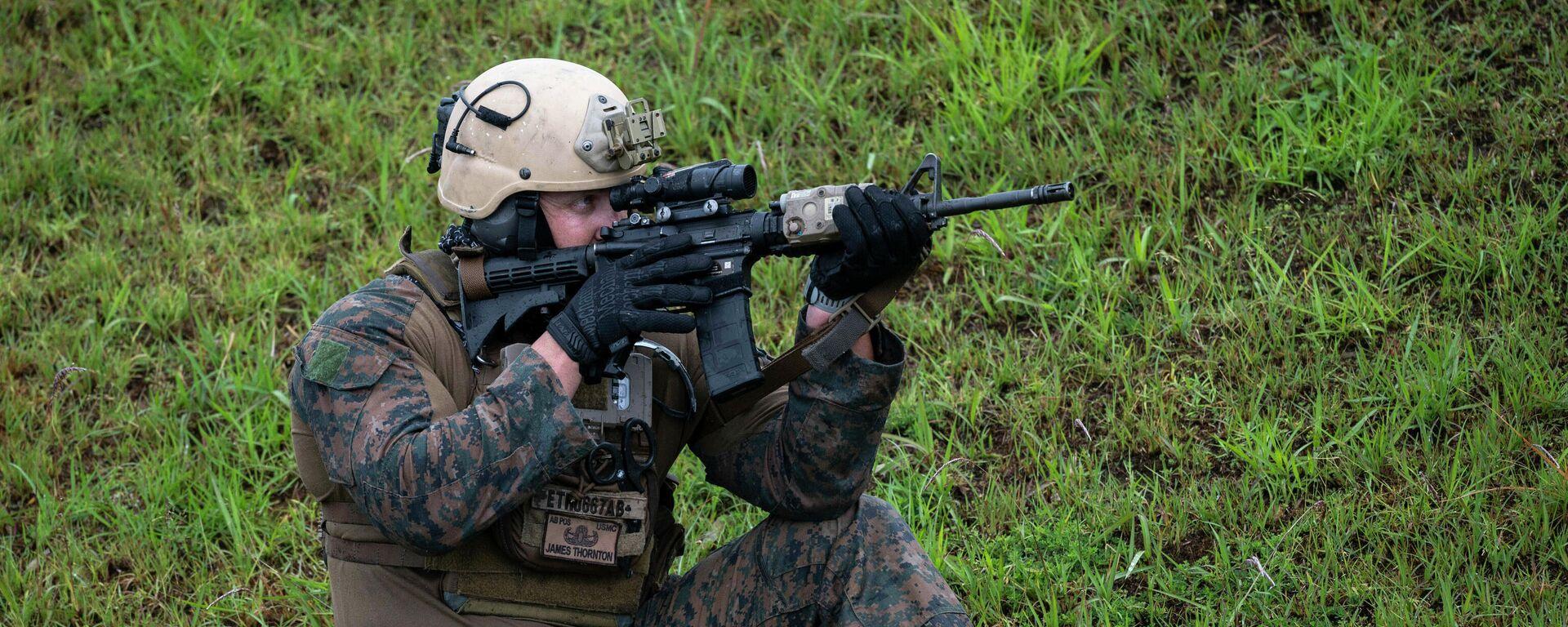 Ein US-Marinesoldat nimmt an einer gemeinsamen Militärübung in Japan teil, 15. Mai 2021 - SNA, 1920, 20.05.2021