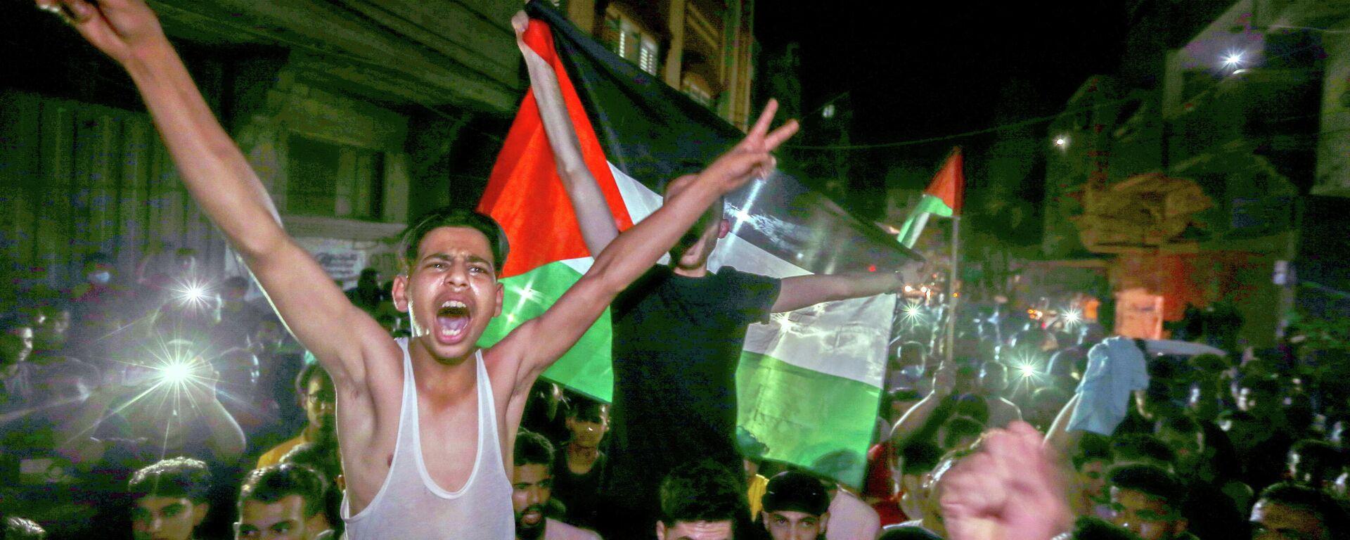 Palästinenser im Gazastreifen feiern Waffenruhe, der 21. Mai 2021  - SNA, 1920, 21.05.2021