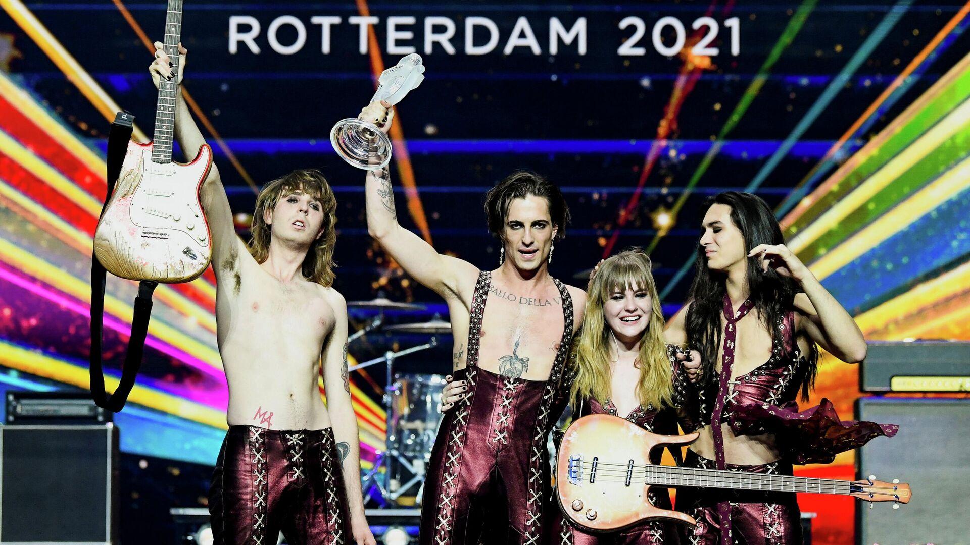 Måneskin-Band aus Italien beim 65. Eurovision Song Contest in Rotterdam, Niederlande, der 23. Mai 2021 - SNA, 1920, 24.05.2021