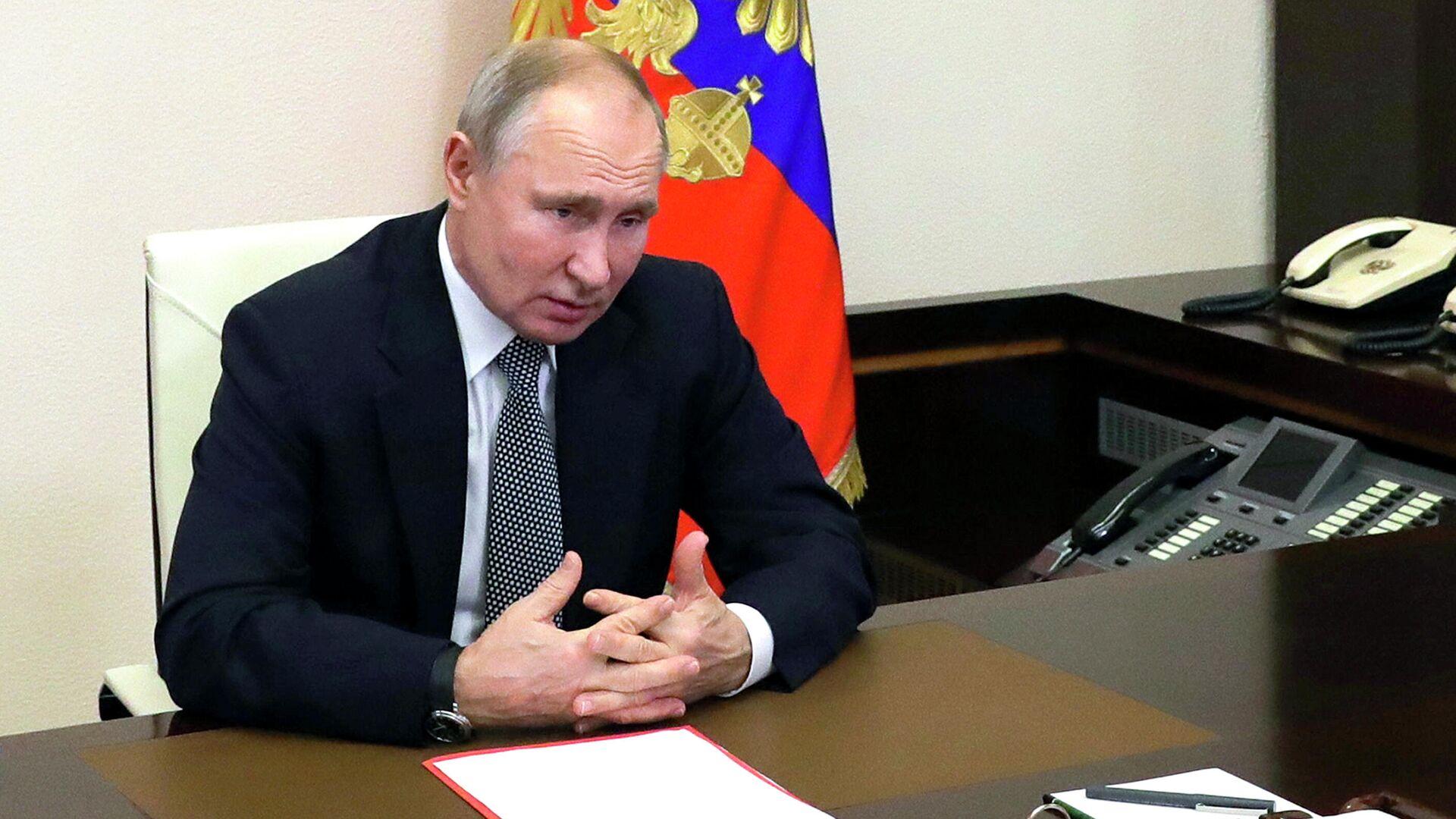 Russlands Präsident Wladimir Pudtin kündigt Ausstieg Moskaus aus dem Open-Skies-Vertrag an. Vorstadtresidenz Nowo-Ogarjowo, 15. Januar 2021 - SNA, 1920, 27.05.2021