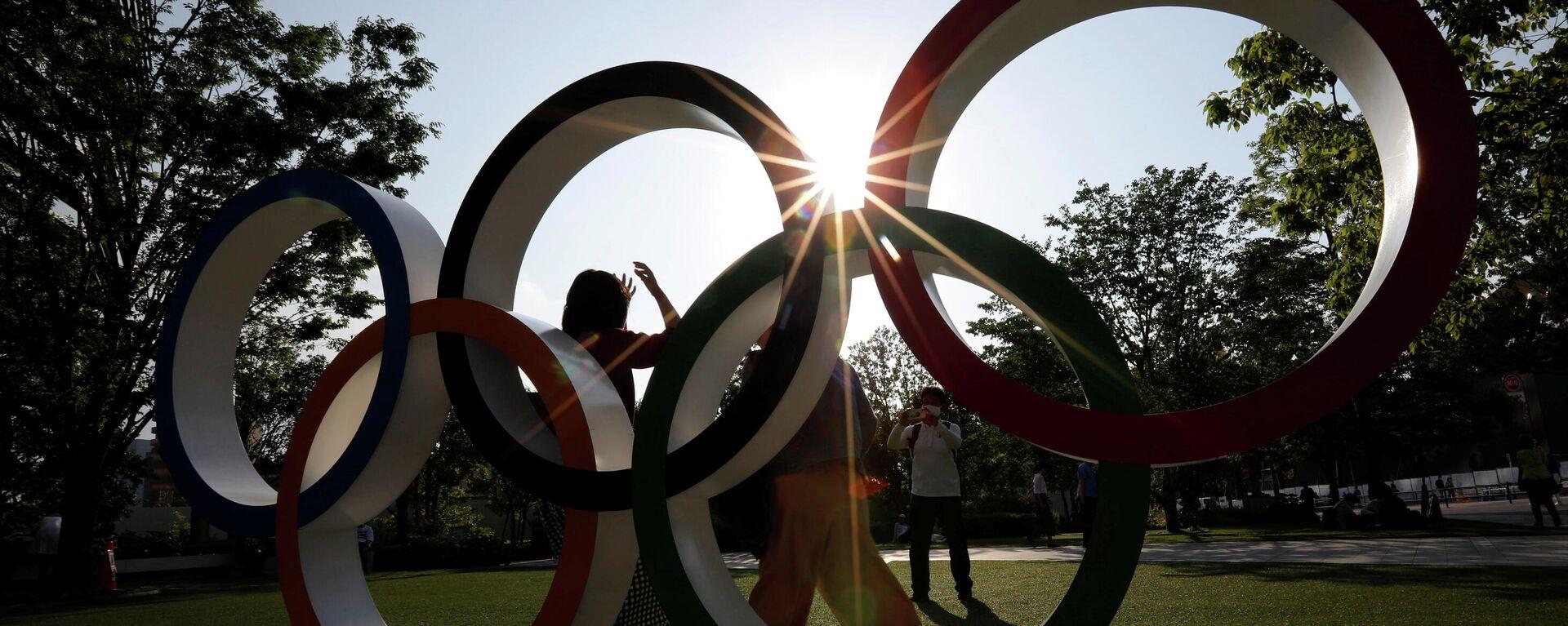 Das Olympia-Logo vor dem Hauptquartier des Japanischen Olympischen Komitees (JOC) - SNA, 1920, 20.06.2021
