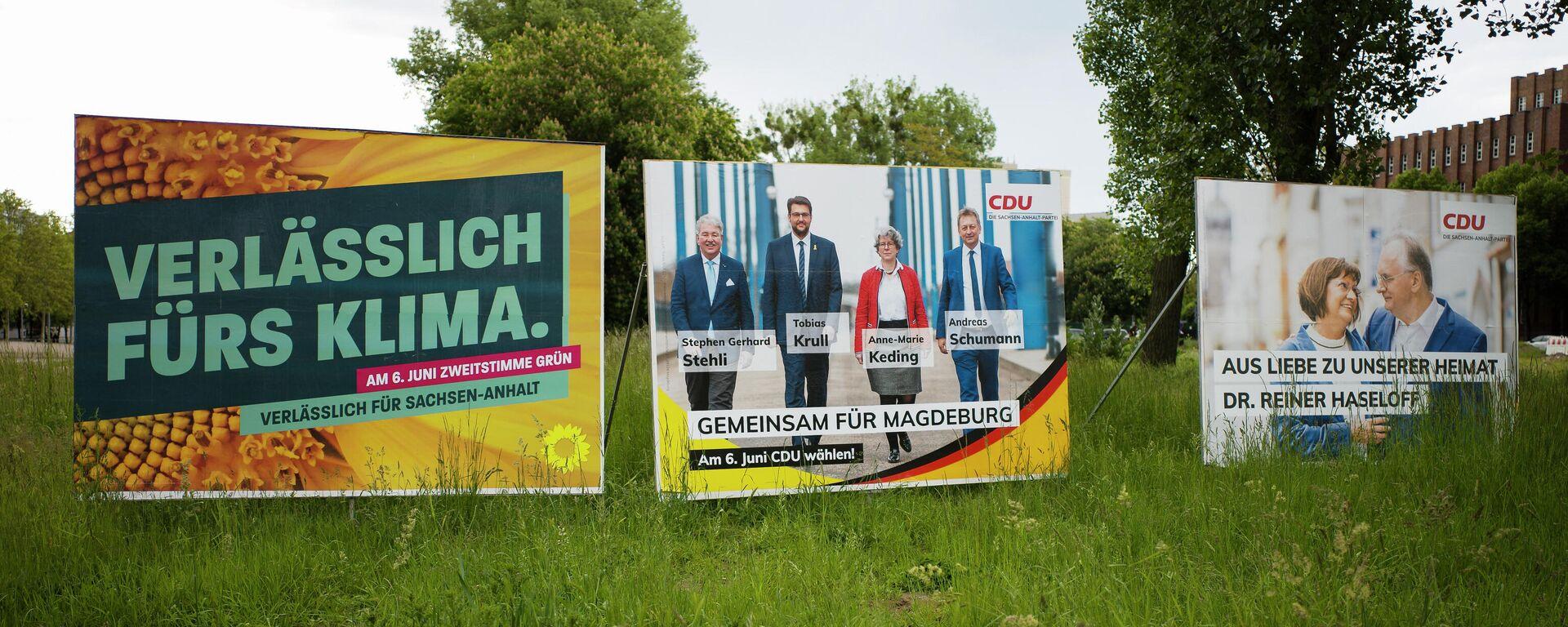 Wahlplakate der Grünen und der CDU in Sachsen-Anhalt - SNA, 1920, 22.06.2021