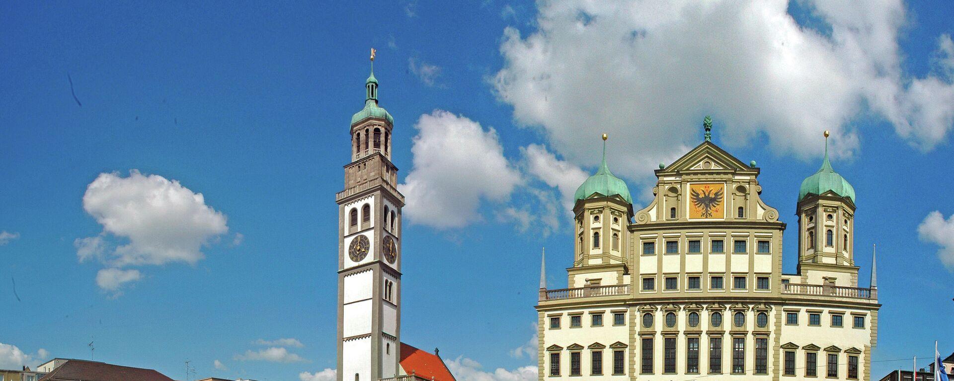Rathaus und Perlachturm mit St. Peter auf dem Rathausplatz in Augsburg - SNA, 1920, 09.06.2021