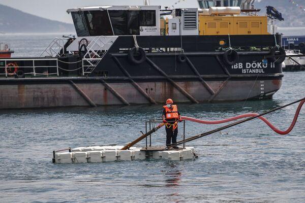 Experten führen die Umweltkatastrophe auf den anomal warmen Winter in diesem Jahr zurück, als die Temperaturen über zehn Grad Celsius erreichten.Foto: Reinigungseinsatz am Caddebostan-Strand in Istanbul. - SNA