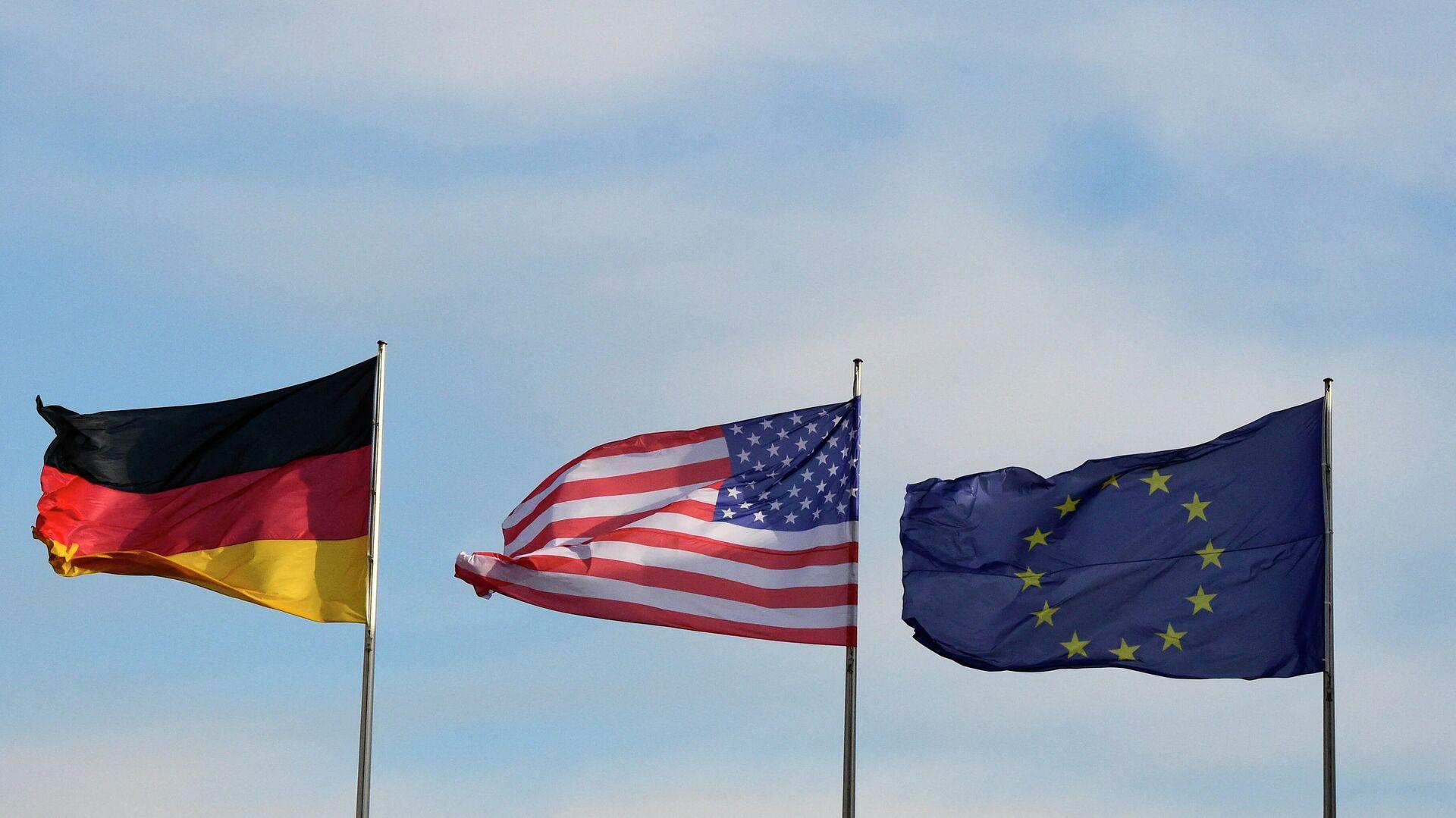 Flaggen von Deutschland, den USA und der EU  - SNA, 1920, 11.06.2021