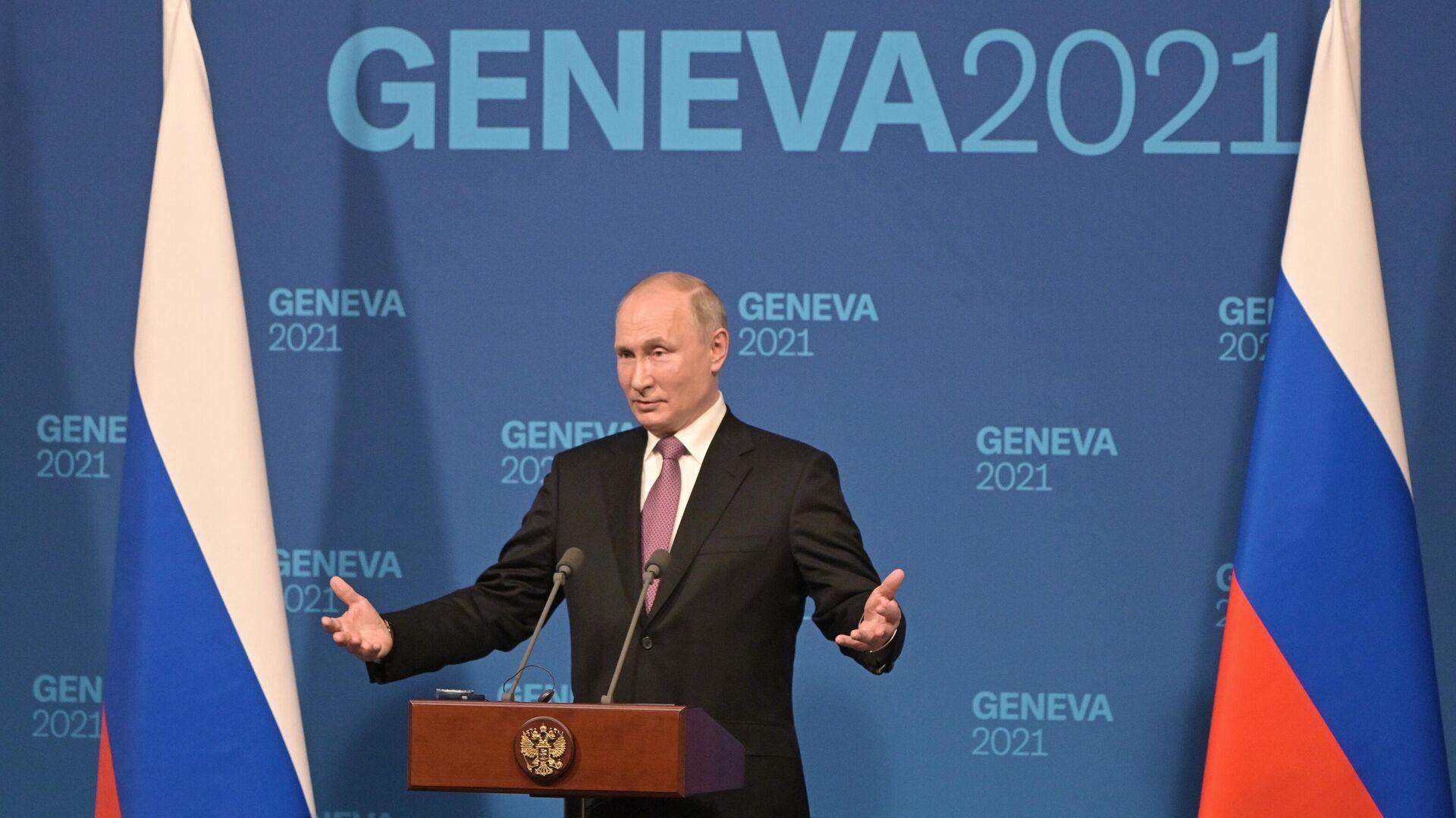 Putin gibt eine Pressekonferenz in Genf nach seinem Treffen mit dem US-Amtskollegen Joe Biden, 16. Juni 2021 - SNA, 1920, 18.06.2021