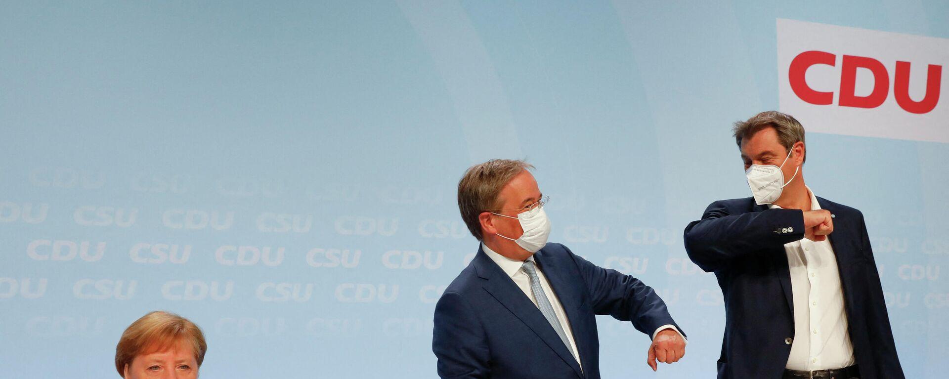 Bundeskanzlerin Angela Merkel, Vorsitzender der CDU Armin Laschet und der CSU-Chef Markus Söder bei der Sitzung der Union am Montag in Berlin. - SNA, 1920, 21.06.2021