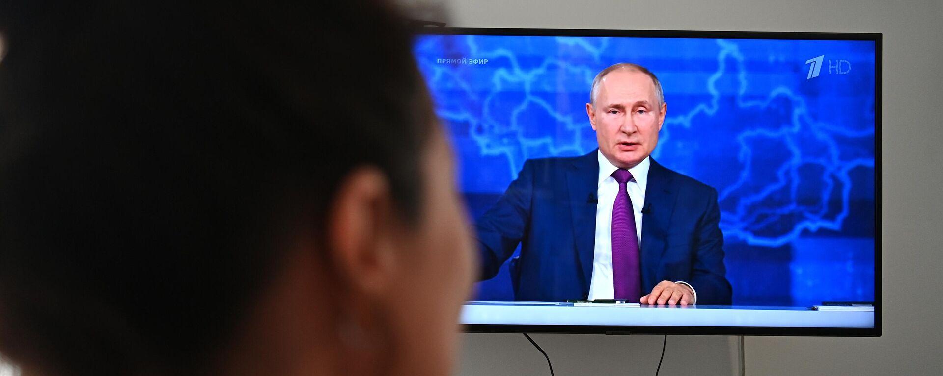 """Wladimir Putin während derTV-Fragerunde """"Der direkte Draht"""" am 30. Juni 2021 - SNA, 1920, 01.07.2021"""