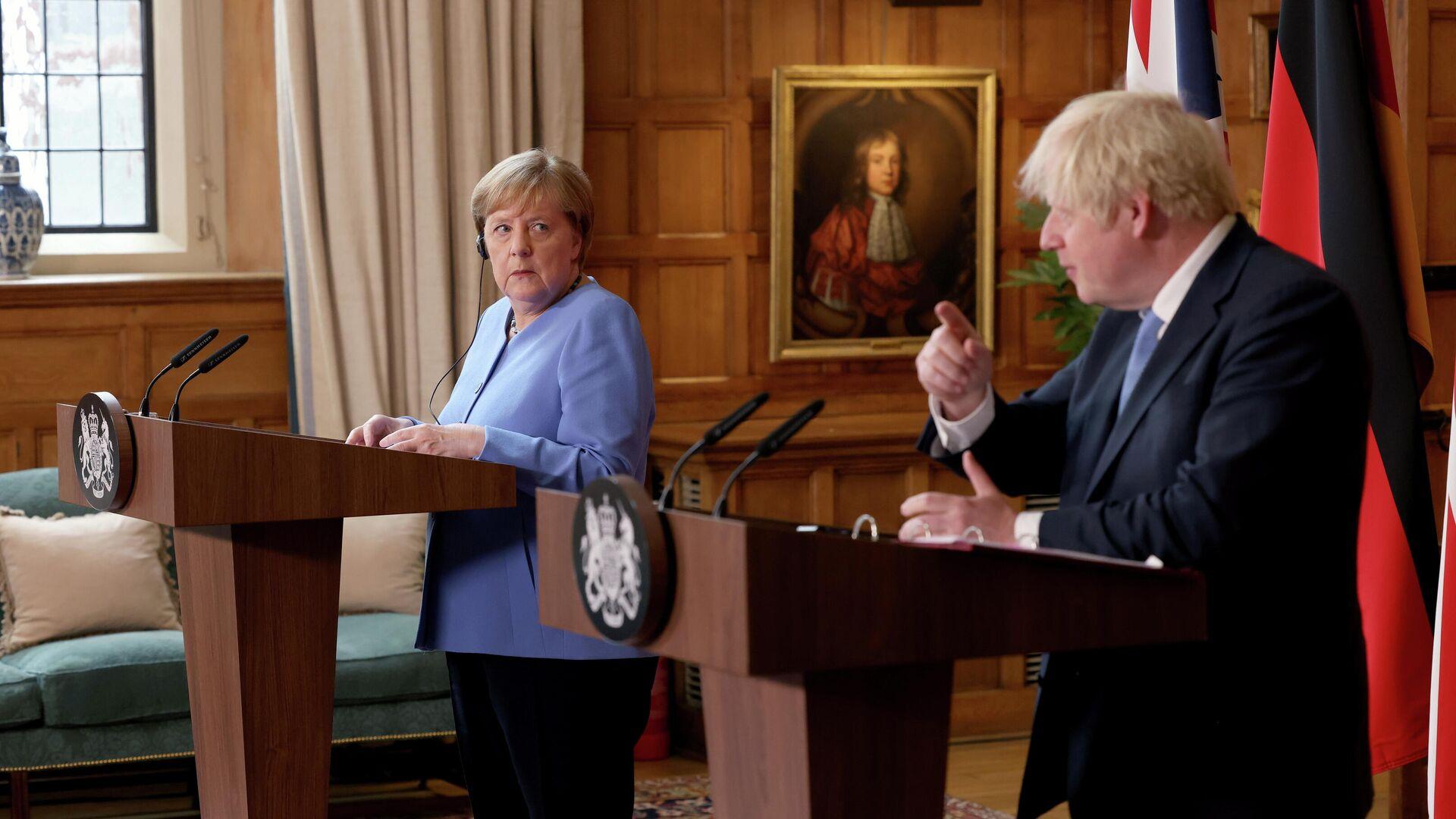 Bundeskanzlerin Angela Merkel und der britische Premier Boris Johnson - SNA, 1920, 02.07.2021