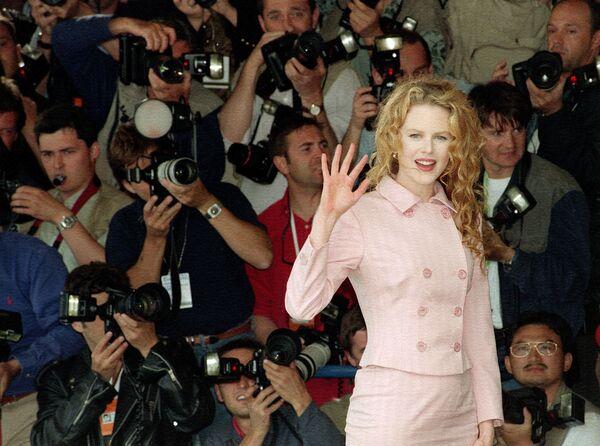 Die australische Schauspielerin Nicole Kidman vor der Pressekonferenz bei den 48. Filmfestspielen in Cannes, 1995. - SNA