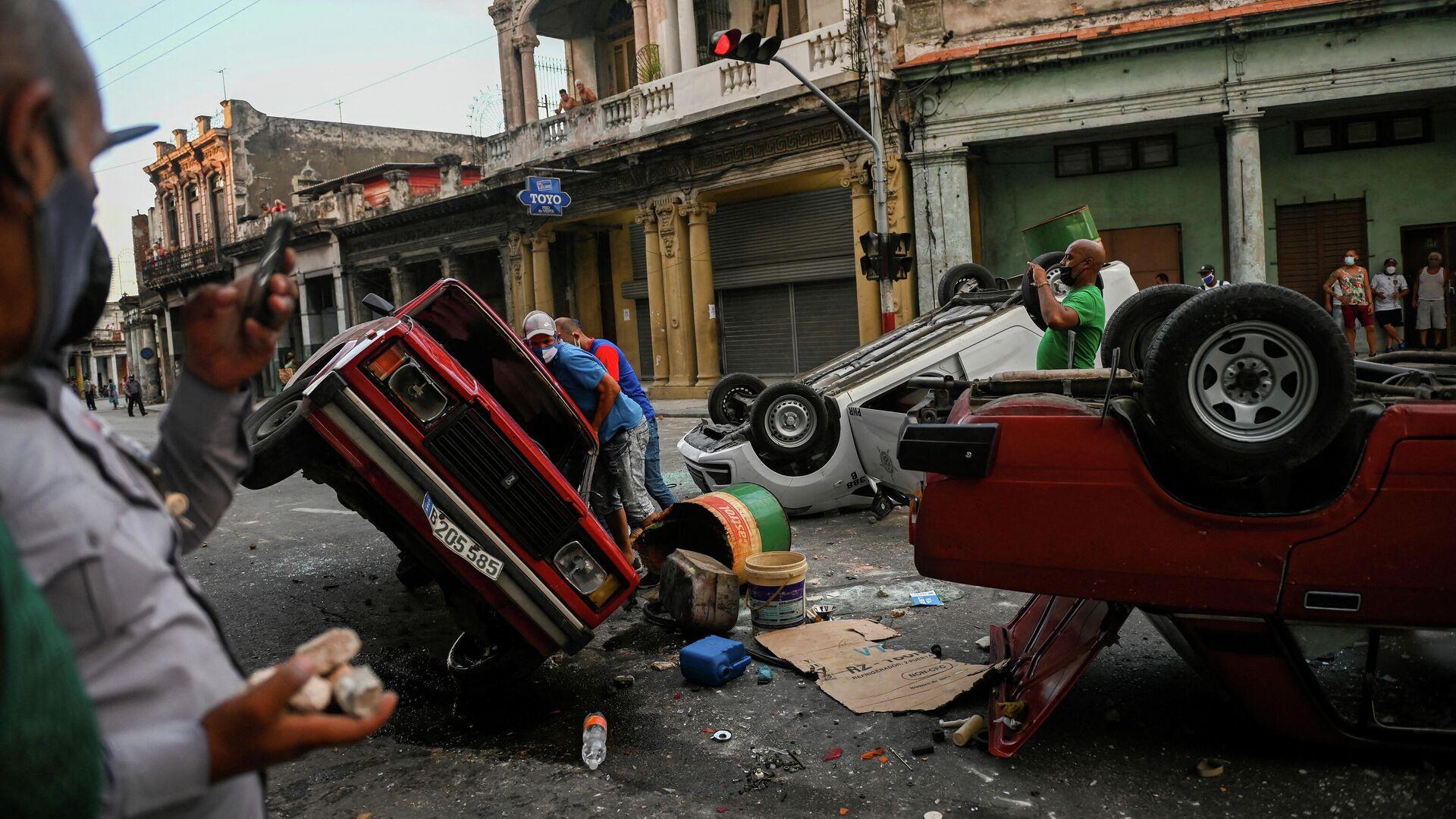 Proteste auf kubanischen Straßen  - SNA, 1920, 12.07.2021